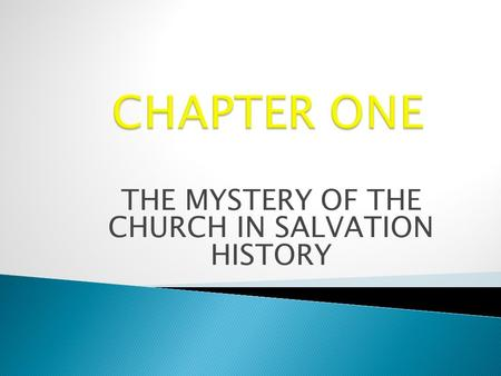 THE MYSTERY OF THE CHURCH IN SALVATION HISTORY
