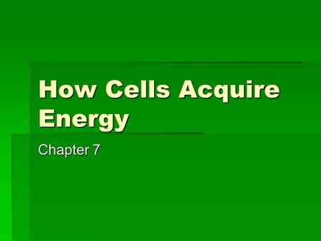 How Cells Acquire Energy Chapter 7.  Photoautotrophs  Carbon source is carbon dioxide  Energy source is sunlight  Heterotrophs  Get carbon and energy.