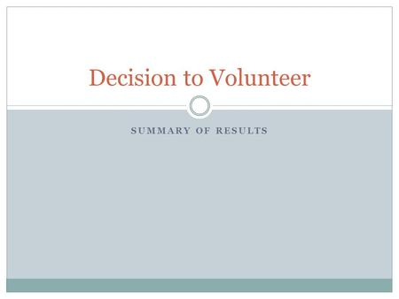 SUMMARY OF RESULTS Decision to Volunteer. ONS HAD THE HIGHEST RESPONSE RATE OF ALL CO-SPONSORS 18.95% N= 21,097.