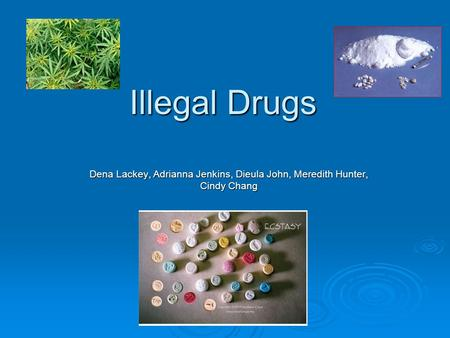 Illegal Drugs Dena Lackey, Adrianna Jenkins, Dieula John, Meredith Hunter, Cindy Chang.