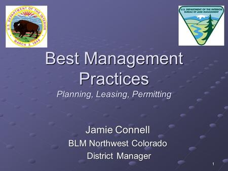 1 Best Management Practices Planning, Leasing, Permitting Jamie Connell BLM Northwest Colorado District Manager District Manager.