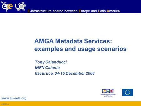 EGRIS-1 www.eu-eela.org E-infrastructure shared between Europe and Latin America AMGA Metadata Services: examples and usage scenarios Tony Calanducci INFN.