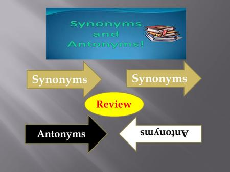 Synonyms Antonyms Review. SynonymsSame How to remember which one is which Antonyms Opposite.