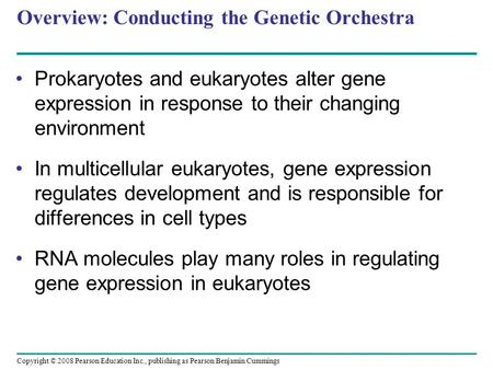 Copyright © 2008 Pearson Education Inc., publishing as Pearson Benjamin Cummings Overview: Conducting the Genetic Orchestra Prokaryotes and eukaryotes.
