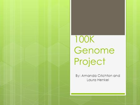 100K Genome Project By: Amanda Crichton and Laura Henkel.