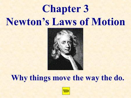 Chapter 3 Newton's Laws of Motion Why things move the way the do.