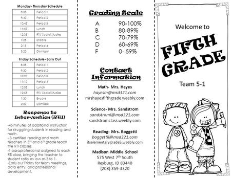 Welcome to Grading Scale A90-100% B80-89% C70-79% D60-69% F 0- 59% Contact Information FIFTH GRADE Team 5-1 Math- Mrs. Hayes mrshayesfifthgrade.weebly.com.