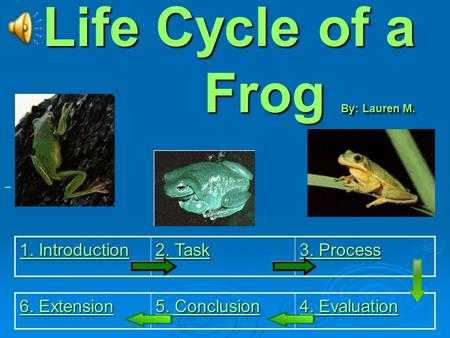 Life Cycle of a Frog By: Lauren M. ( 1. Introduction 1. Introduction 2. Task 2. Task 3. Process 3. Process 6. Extension 6. Extension 5. Conclusion 5.