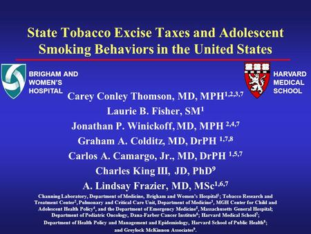 State Tobacco Excise Taxes and Adolescent Smoking Behaviors in the United States Carey Conley Thomson, MD, MPH 1,2,3,7 Laurie B. Fisher, SM 1 Jonathan.