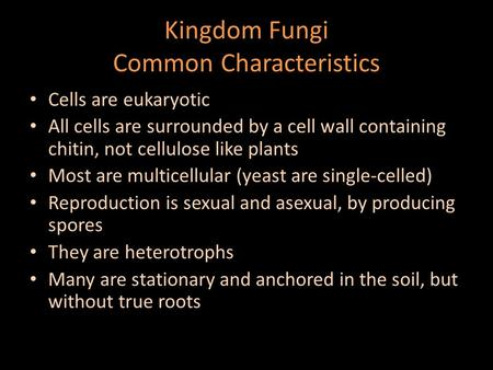 Kingdom Fungi Common Characteristics Cells are eukaryotic All cells are surrounded by a cell wall containing chitin, not cellulose like plants Most are.