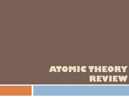 ATOMIC THEORY REVIEW. ATOMS !!! What are the 3 subatomic particles? Protons neutrons electrons What is ALL matter made of?