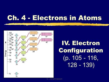 C. Johannesson IV. Electron Configuration (p. 105 - 116, 128 - 139) Ch. 4 - Electrons in Atoms.