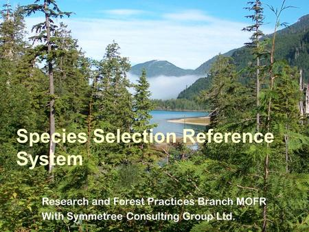 Species Selection Reference System Research and Forest Practices Branch MOFR With Symmetree Consulting Group Ltd.