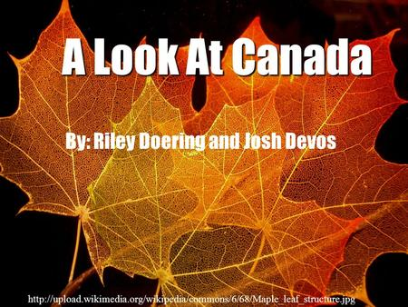 A Look At Canada By: Riley Doering and Josh Devos