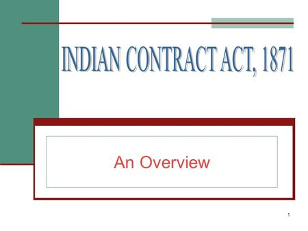 1 An Overview. 2 INDEX Definations. Acceptance and Revocation of proposals. Contracts, voidable contracts and void agreements.