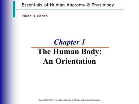 Essentials of Human Anatomy & Physiology Copyright © 2003 Pearson Education, Inc. publishing as Benjamin Cummings Elaine N. Marieb Chapter 1 The Human.