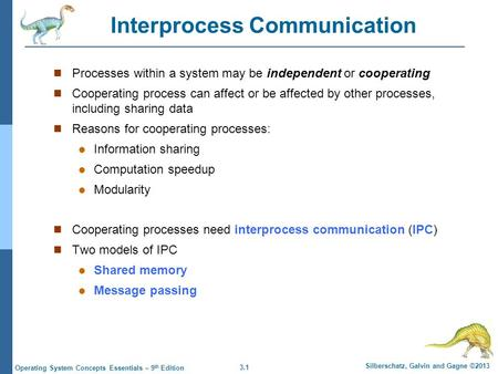 3.1 Silberschatz, Galvin and Gagne ©2013 Operating System Concepts Essentials – 9 th Edition Interprocess Communication Processes within a system may be.