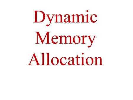 Dynamic Memory Allocation. Domain A subset of the total domain name space. A domain represents a level of the hierarchy in the Domain Name Space, and.