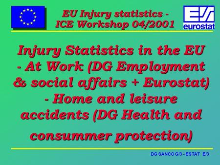DG SANCO G/3 - ESTAT E/3 EU Injury statistics - ICE Workshop 04/2001 Injury Statistics in the EU - At Work (DG Employment & social affairs + Eurostat)