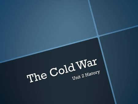 The Cold War Unit 2 History. Quagmire A quagmire is a situation that is difficult to get out of. Following the Cuban Missile Crisis it was clear that.