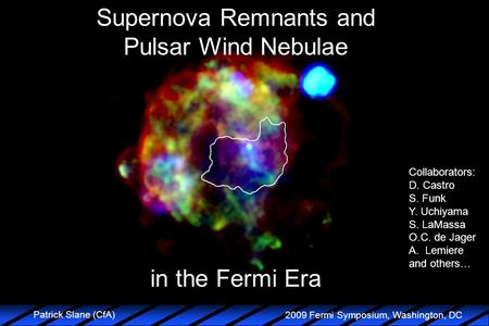 2009 Fermi Symposium, Washington, DC Patrick Slane (CfA) Supernova Remnants and Pulsar Wind Nebulae in the Fermi Era Collaborators: D. Castro S. Funk Y.