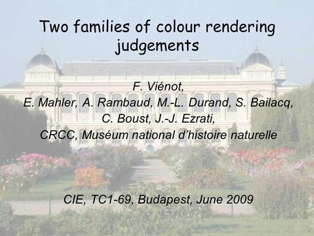 1 Two families of colour rendering judgements F. Viénot, E. Mahler, A. Rambaud, M.-L. Durand, S. Bailacq, C. Boust, J.-J. Ezrati, CRCC, Muséum national.