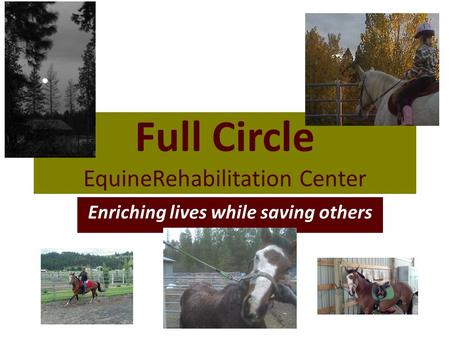 Full Circle EquineRehabilitation Center Enriching lives while saving others.
