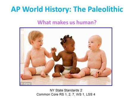 AP World History: The Paleolithic What makes us human? NY State Standards 2 Common Core RS 1, 2, 7, WS 1, LSS 4.