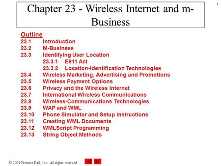  2001 Prentice Hall, Inc. All rights reserved. 1 Chapter 23 - Wireless Internet and m- Business Outline 23.1 Introduction 23.2 M-Business 23.3 Identifying.