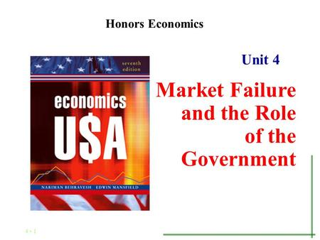 4 - 1 Unit 4 Market Failure and the Role of the Government Honors Economics.
