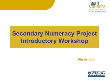 Secondary Numeracy Project Introductory Workshop Pip Arnold.