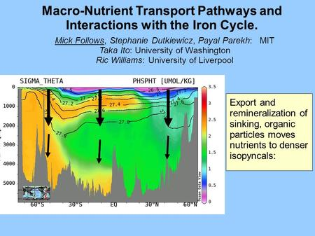 Macro-Nutrient Transport Pathways and Interactions with the Iron Cycle. Export and remineralization of sinking, organic particles moves nutrients to denser.