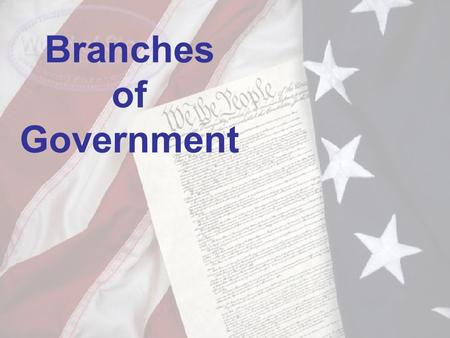 Branches of Government. Our Government Our nation's government has three parts or branches. The United States Constitution describes the role of each.