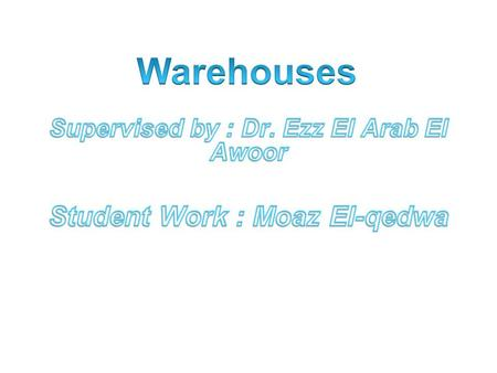 Traditional concept of warehouse as store or go down  Development of modern concept of warehouse as facility Traditionally, consumer maintained his.
