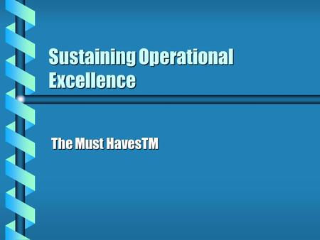Sustaining Operational Excellence The Must HavesTM.