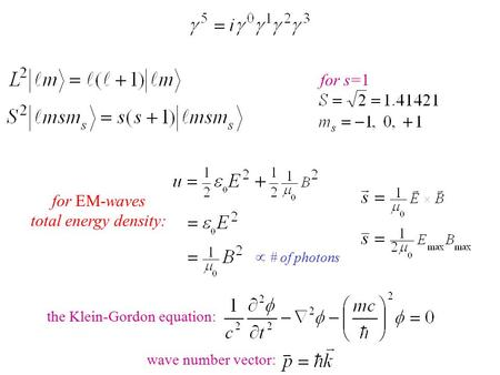 For s=1 for EM-waves total energy density:  # of photons wave number vector: the Klein-Gordon equation: