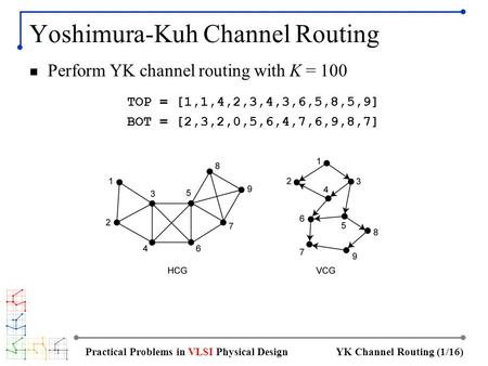 YK Channel Routing (1/16)Practical Problems in VLSI Physical Design Yoshimura-Kuh Channel Routing Perform YK channel routing with K = 100 TOP = [1,1,4,2,3,4,3,6,5,8,5,9]