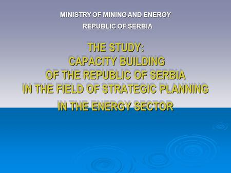 THE STUDY: CAPACITY BUILDING OF THE REPUBLIC OF SERBIA IN THE FIELD OF STRATEGIC PLANNING IN THE ENERGY SECTOR MINISTRY OF MINING AND ENERGY REPUBLIC OF.
