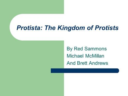 Protista: The Kingdom of Protists By Red Sammons Michael McMillan And Brett Andrews.
