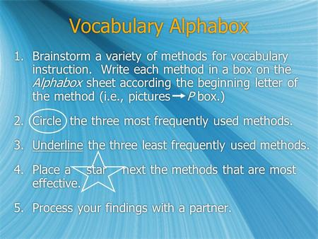 Vocabulary Alphabox 1.Brainstorm a variety of methods for vocabulary instruction. Write each method in a box on the Alphabox sheet according the beginning.