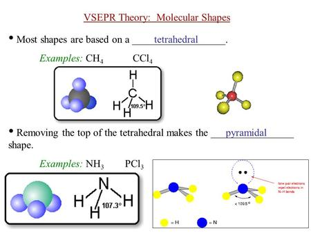 VSEPR Theory: Molecular Shapes Most shapes are based on a __________________. Examples: CH 4 CCl 4 Removing the top of the tetrahedral makes the ________________.