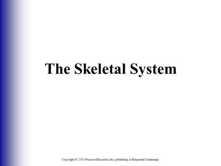 Copyright © 2003 Pearson Education, Inc. publishing as Benjamin Cummings The Skeletal System.