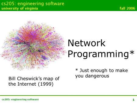 1 cs205: engineering software university of virginia fall 2006 Network Programming* * Just enough to make you dangerous Bill Cheswick's map of the Internet.