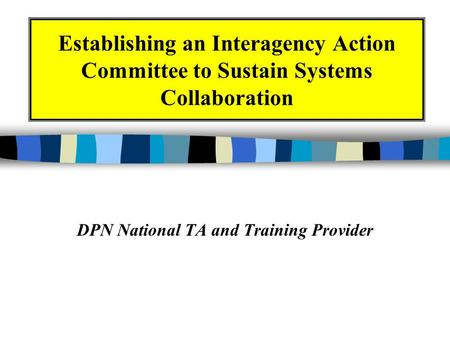 Establishing an Interagency Action Committee to Sustain Systems Collaboration DPN National TA and Training Provider.