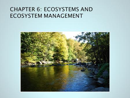 CHAPTER 6: ECOSYSTEMS AND ECOSYSTEM MANAGEMENT. 6.1 THE ECOSYSTEM: SUSTAINING LIFE ON EARTH Sustaining life on Earth requires more than individuals Life.