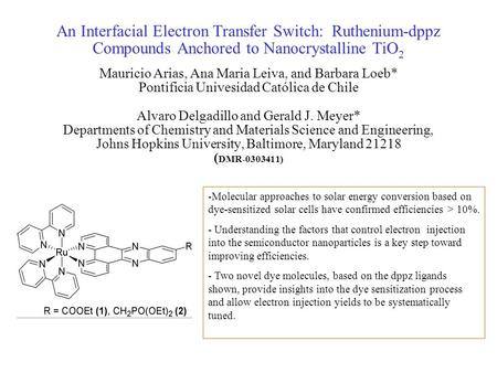 An Interfacial Electron Transfer Switch: Ruthenium-dppz Compounds Anchored to Nanocrystalline TiO 2 Mauricio Arias, Ana Maria Leiva, and Barbara Loeb*