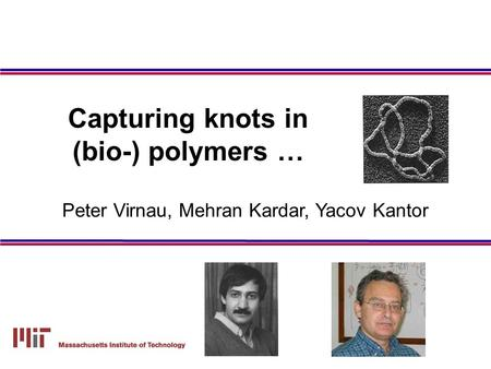 Peter Virnau, Mehran Kardar, Yacov Kantor Capturing knots in (bio-) polymers …