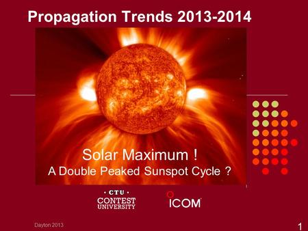 Propagation Trends 2013-2014 Dayton 2013 1 Solar Maximum ! A Double Peaked Sunspot Cycle ?