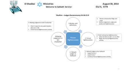 1 El Shaddai Ministries August 30, 2014 Welcome to Sabbath Service! Elul 4, 5774.