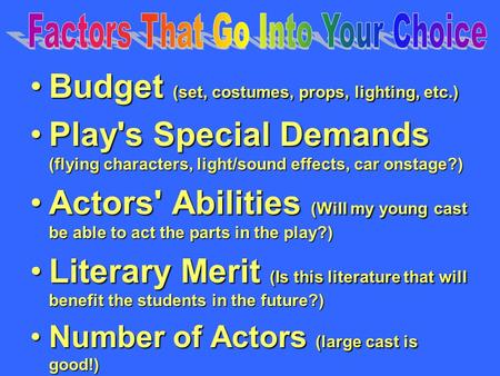 Budget (set, costumes, props, lighting, etc.)Budget (set, costumes, props, lighting, etc.) Play's Special Demands (flying characters, light/sound effects,
